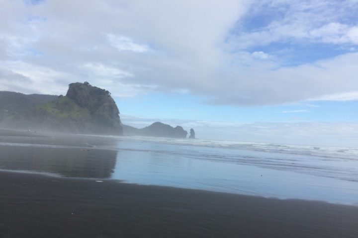 Piha Beach in the dust